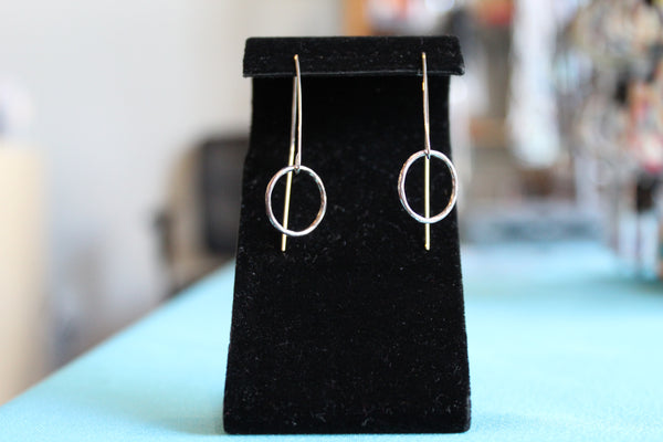 Sterling silver metal hoop earrings