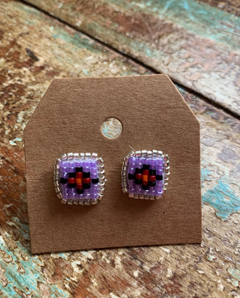 Small Square Beaded Studs (Various colors available)