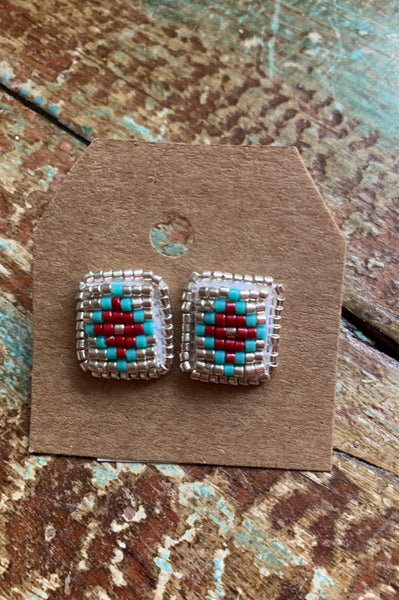 Large Square Beaded Studs