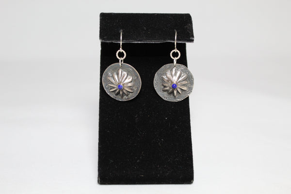 Silver Conchos with Lapis Earrings
