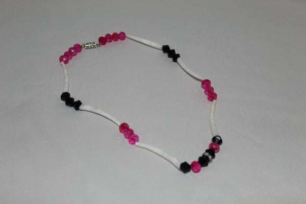 Dentalium shell baby necklace with pink & black beads
