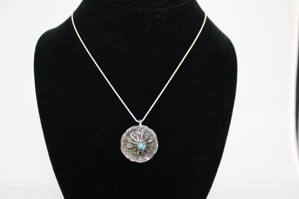 Silver Concho With Turquoise Necklace