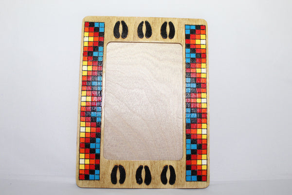 "Wood Picture Frame, Buffalo Tracks - 8.5"" x 6.5"""