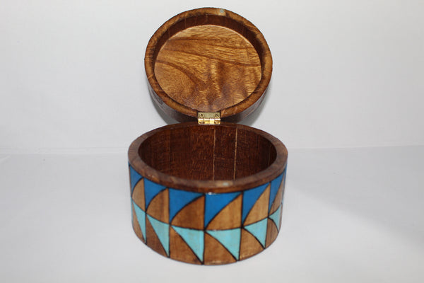 Round Wooden Box - Carved and Painted