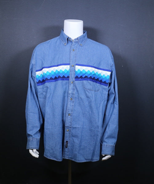 Long Sleeve Denim Shirt w/patchwork