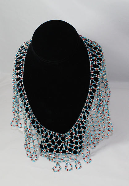 Blue, Red & Silver Beaded Collar