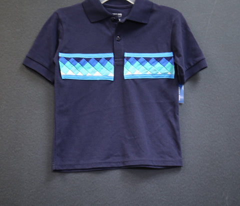 Boys Short sleeved polo w/patchwork