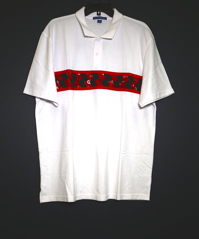 Mens Short Sleeve Polo w/red and black patchwork
