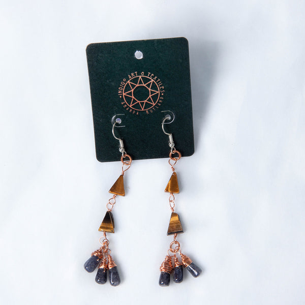 Tiger Eye & iolite Dangle Earrings