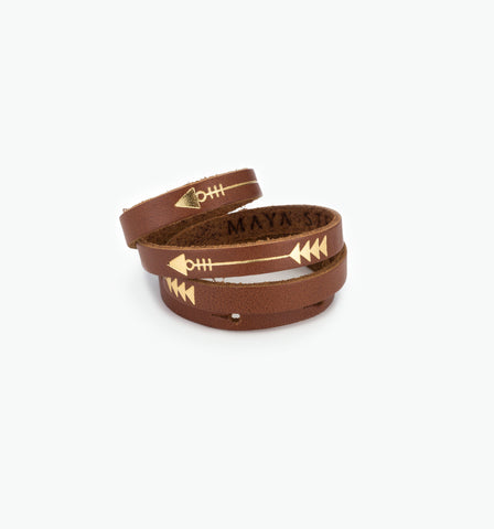 Brown Wrap Bracelet With Gold Arrow