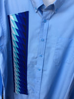 XL Light blue button up men's dress shirt with patchwork on the right