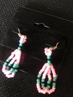Neon pink, turquoise & black hanging beaded earrings