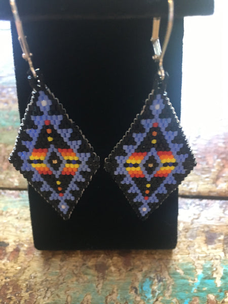 Purple & multi color diamond shaped Hex bead earrings
