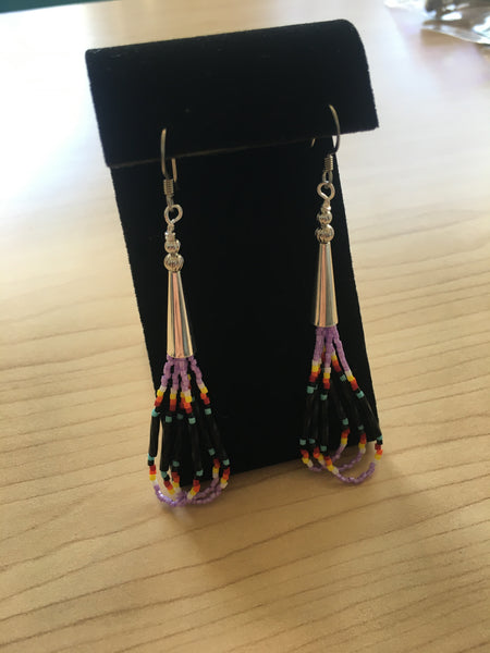 Earrings - Lavender & black beaded.