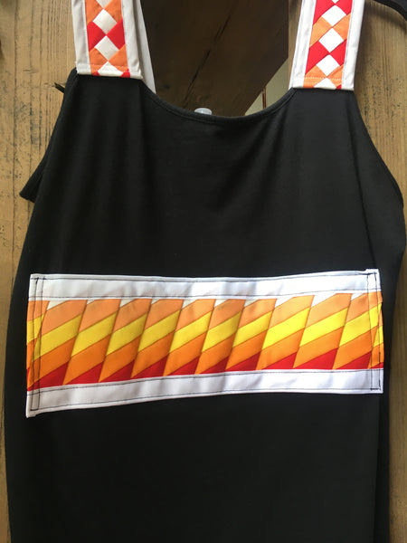 "Size XL (16-18) black tank top ""Dana T"" with patchwork in white, shades of orange, yellow, red & gray."