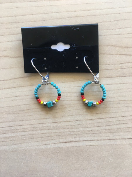 Earrings - small beaded hoop