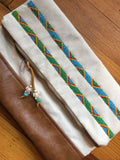 Tan Bag with Turquoise & Green Beaded Stripes