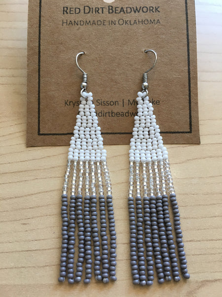 Medium Color Block Fringe Earrings