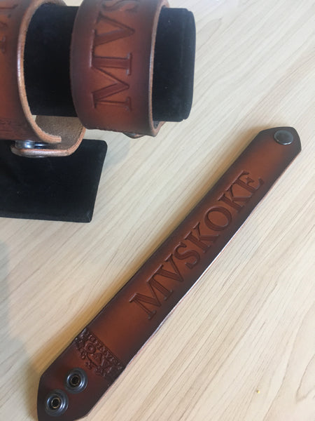 Mvskoke Leather Wristband (Thick)
