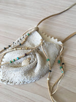 Leather Necklace With Pouch and Fringe and Beads