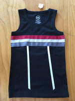XS (4-5) childs black tank top with ribbons in maroon, patterned gray & off white, gun metal gray & white