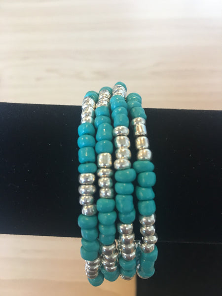 Large bracelet wrap in turquoise & silver