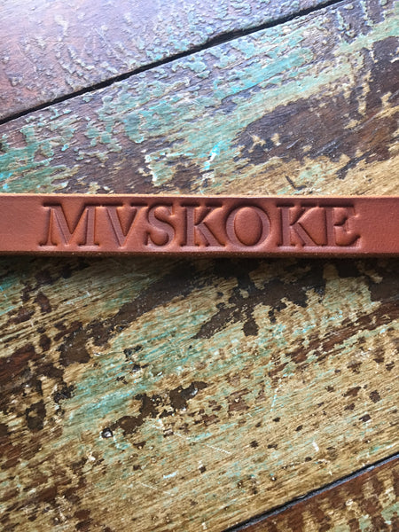 Mvskoke Leather Wristband (Thin), size large