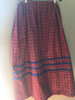 Maroon & blue printed ribbon skirt with blue ribbons