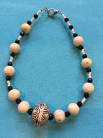 Tan & black beaded anklet