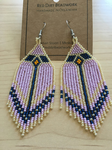 Large Multi-Colored Diamond Pattern Fringe Earrings