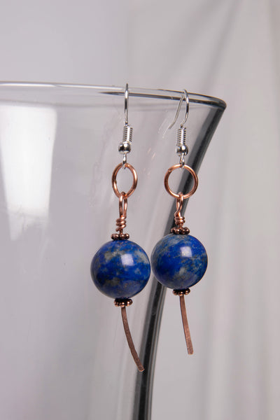 Simple Lapis/Copper Earring
