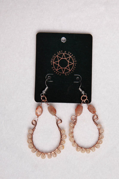 Copper wire wrapped quartz bead earrings