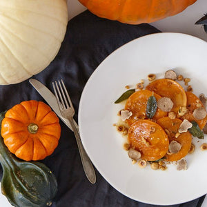 Pumpkin Ravioli with Truffle Maple Syrup Sauce