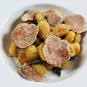 Pan-Seared Gnocchi with White Truffle Browned Butter, Sage and White Truffles