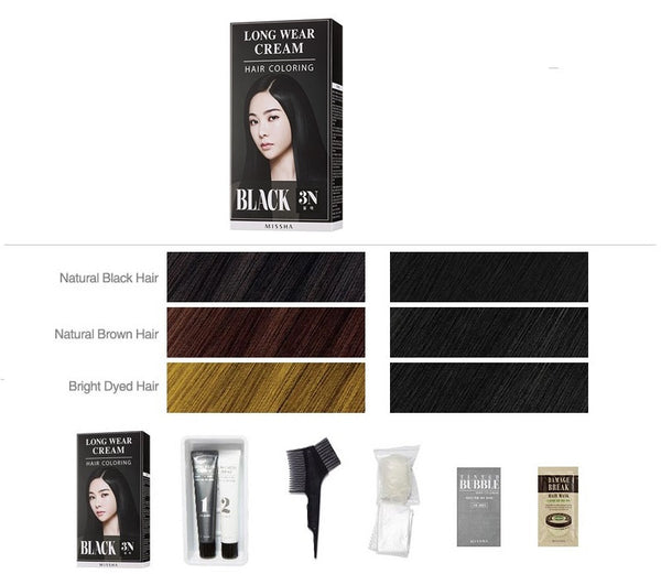 Long Wear Cream Hair Coloring (Black) - Missha Middle East