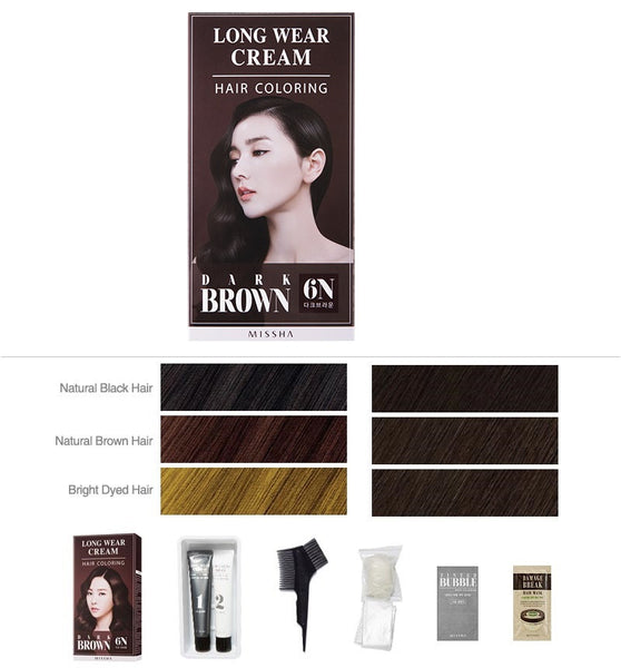 Long Wear Cream Hair Coloring (Dark Brown) - Missha Middle East