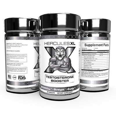 (3) Hercules XL Testosterone Boosters Increase Strength - Focus - Stamina - Energy - Premium Mix (60 Caps)