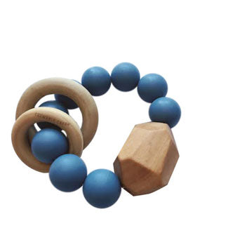 HAYES SILICONE + WOOD TEETHER TOY- NIAGRA BLUE