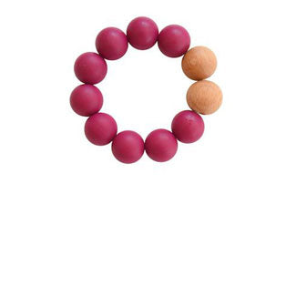 REMY SILICONE + WOOD TEETHER TOY- PLUM