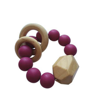 HAYES SILICONE + WOOD TEETHER TOY- SANGRIA