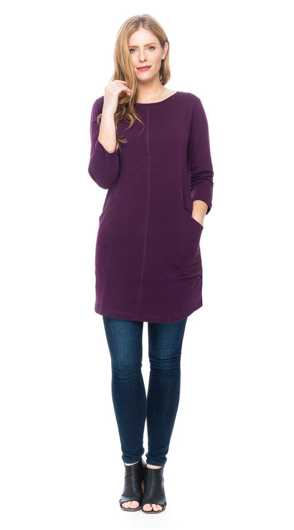 Long Tunic with Chevron Seam and Slanted Pockets - Organic Cotton