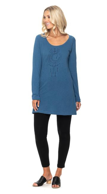 Light Tunic with Round Neck - Infinity Blue - Organic Cotton