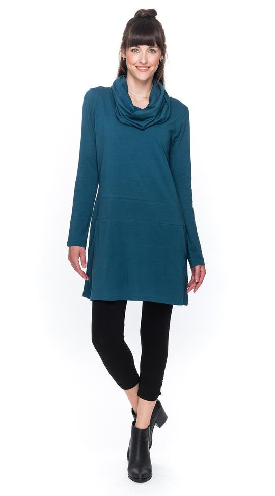 Cowl Neck Tunic with Rounded Pocket - Organic Cotton