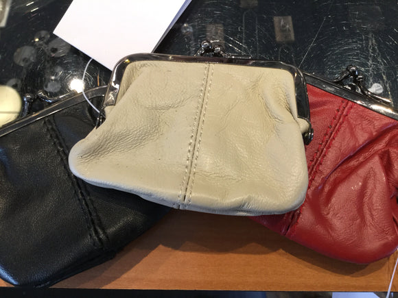 Leather Change Pouch with Metal Edge and Closure - Assorted Colours