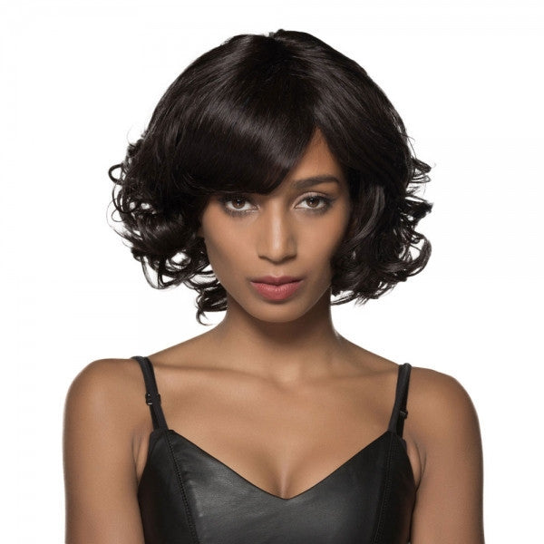 "11"" Virgin Remy Human Hair Full Net Cap Woman Short Curly Hair Wig with Bang Natural Black"