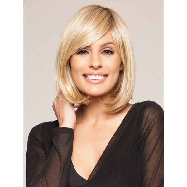 "12"" Women Medium Natural Remy Human Hair Wig with Bang Light Golden"