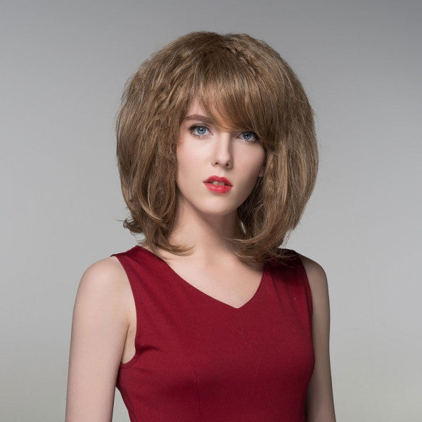"12"" Virgin Remy Human Hair Full Net Cap Woman Medium Length Curly Hair Wig with Bang Linen Brown"