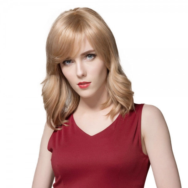 "15"" Virgin Remy Human Hair Full Net Cap Woman Short Curly Hair Wig with Bang Linen"