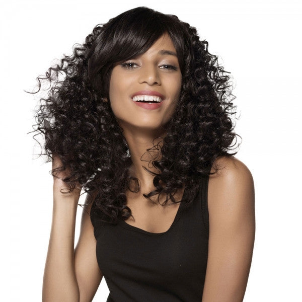"19"" Virgin Remy Human Hair Full Net Cap Woman Long Curly Hair Wig with Bang Natural Black"