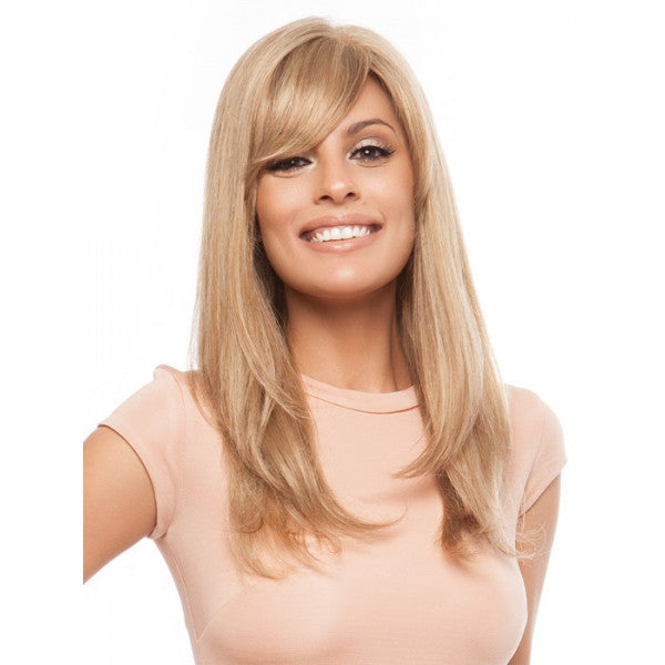 "22"" Woman Long Remy Human Hair Wig with Bang Golden"